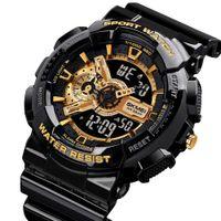SKMEI LED 디지털 충격 남성 아날로그 쿼츠 블랙 골드 전자 손목 시계 Masculino G 스타일 방수 플라스틱 스포츠 시계