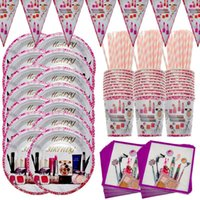 Disposable Dinnerware SPA Cosmetics Theme Girl Birthday Party Supplies Wedding Event Decoration Tableware Paper Cup Plate Napkin Flag Set