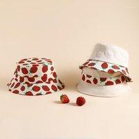 Girls Summer Cute Strawberry Bucket Hat Auntumn Sping Packable Foldable Fishermen Korean Design Outdoor Cap For Womens Men Caps & Hats1