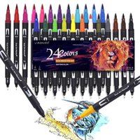 24 Colors Watercolor Pens Drawing Painting FineLiner Dual Tip Brush Art Markers Pen For Drawing Painting Calligraphy Art Supplie 210705
