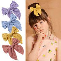 Mädchen sticken Spitze große Haarbogen mit den Clips Haarnadeln Nylon Haarbänder für Kinder Kinder Haarschlüsse Kleinkind Barrettes Headwear