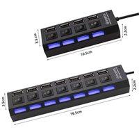 4/7 Port USB 2.0 Hub Hubs Çok Splitter Kullanım Güç Adaptörü PC için Anahtarı ile Çoklu Genişletici