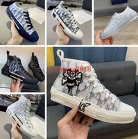 2021 Designer Sports Shoes B23 Diagonal High High Hombres y mujeres Sneakersb24 Technical Canvas Cuero Damas Casual Shoe's Bee Top Quality Luxury Fashion 35-46