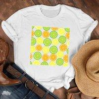 Women's T-Shirt Women Lady 90s Cartoon Lemon Orange Short Sleeve Travel Fruit Shirt Clothes Tshirt Tee Womens Top Female Print T Graphic