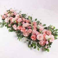 Flores decorativas 100 cm DIY Flores de boda Arreglo de pared Suministros de peonías de seda Rose Artificial Fila Decoración de hierro Arco telón de fondo