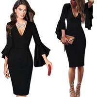 Casual Dresses Business Dress Womens Sexy Deep V-neck Flare Bell Long Sleeves Elegant Party Slim Bodycon Pencil Office Lady