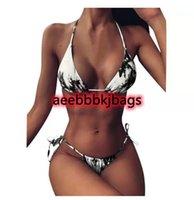 Bikinis Set Bikini 2021 Sexy Donne Bandage Costume da bagno Brasiliano Tie-Dye Lace Up Alta taglio Gamba Capelatore Due pezzi Costume da bagno # 05121