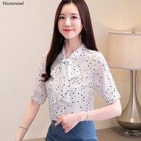 Women's Blouses & Shirts Plus Size Blusas Mujer De Moda Bow Summer Clothing Chiffon Short Sleeve Womens Tops And Thin