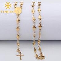 Fine4u N419 الفولاذ المقاوم للصدأ لطيف الصليب والعذراء ماري قلادة قلادة الدينية الكاثوليكية المسيحية مجوهرات للنساء