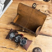 Watch Boxes & Cases 80% Sell Display Box Storage Band Holder Faux Leather Roll Wrist Watches Pouch Container Gift