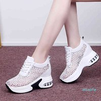 Summer Breathable Mesh Chunky Platform Sneakers Women Lace Floral Hollow Out White Shoes Woman Hidden Heels Casual Shoes