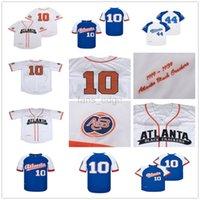 Hombres Negro League Black Atlanta Galletas de béisbol Jersey 10 Equipo Color Blanco Piñintle Pasado Bordado fresco Bordado y costura Bordado de alta calidad