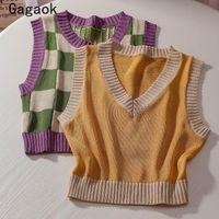 Women's Vests Gagaok Sweater Vest Women 2021 Summer Vintage Patchwork Plaid Slim Knitted Outwear Fashion Chic Wild Clothing