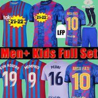 قمم Camisetas de Football Memphis Pedrie Kun Aguero Barcelona Soccer Jersey Barca FC 20 21 22 Ansu Fati 2021 2022 Griezmann F. De Jong Dest Kit قميص الرجال الاطفال مجموعات الجوارب