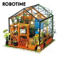 Robotime DIY Green House with Furniture Children Adult Doll Miniature Dollhouse Wooden Kits Toy DG 210910