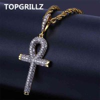 TOPGRILLZ Solid Back Ankh Cross Mens Women Hip Hop Pendant Necklaces Iced Out AAA+ Bling CZ Stone Gifts Drop