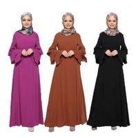 Müslüman Kaftan Maxi Katı Uzun Kol Uzun Elbise Fas Giyim İslam Türkiye Abaya Arap Dubai Jalabiya Bornoz Kadın Kıyafeti Gevşek1