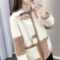 Manteau élégant en fausse fourrure en fausse fourrure Femmes 2022 hiver hiver chaud doux poitrine veste à double poitrine poche