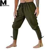 Moomphya Medieval Retro Casual Man Pants Pants Strap Vintage Skinny Joggers Uomo lungo Pantaloni da pirata da uomo lungo Pantaloni per asciugatura rapida