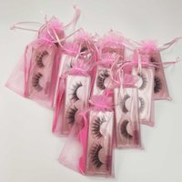 Cílios Falsos Luz Macio Falso Glitter Lash Extensão Mink Lashes Maquiagem 3D Faux Cabelo Natural Cross Brush Brush set no saco rosa personalizar o encrespador de serviço