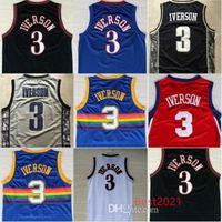 Allen 3 Iverson Georgetown Hoyas College Mens Basketball Jerseys Bleu Noir Blanc Tous cousus