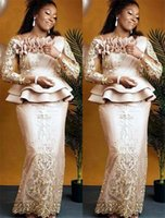 2021 Plus Size Arabic Aso Ebi Champagne Lace Sexy Mother Of Bride Dresses Long Sleeves Sheath Vintage Prom Evening Formal Party Gowns Dress ZJ355