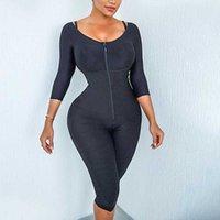 Kadın şekillendirme cilt shapewear sıkın faja postparto colombianas bodysuit diz kolu kontrol vücut şekli orta sıkı buifitter