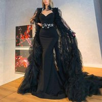 Sexy Black Evening Dresses with long cape Mermaid Gothic Prom Dress Spaghetti Straps Backless Satin Formal Occasion Party Gowns