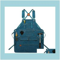 Aprons Textiles Home & Gardendurable Goods Heavy Duty Waxed Unisex Canvas Work Apron With Tool Pockets Cross-Back Straps Adjustable For Wood