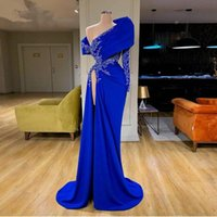 2021 Sexy Arabic Aso Ebi Royal Blue Crystal Beading Evening Dresses Wear One Shoulder Long Sleeves High Side Split Plus Size Prom Gowns