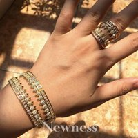 Earrings & Necklace Ness Water Drop Fashion Luxury Super Cubic Zirconia Women Engagement Bangle And Ring Jewelry Set