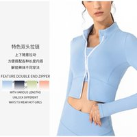 Lulu new nude yoga jacket long sleeve Mock Neck Top Women's autumn and winter zipper sports running fitness suit