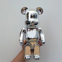 Home Decoration 28Cm Bearbrick 400% Be@rbrick Games New Year's Gift Tide Play Model Plating Resin Electronic Games Kids Toys Y0910