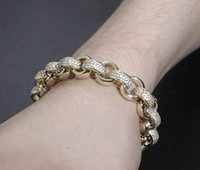 """Men's 12MM Wide Thick Round Roll Link Chain Bracelet 8"""" Long 14K Gold Plated Diamond Cubic Zirconia Hiphop Jewelry"""