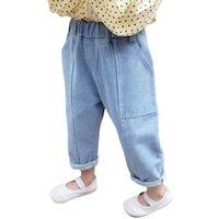 Jeans für Mädchen Kleinkind Taschen Kinder Mädchen Solide Farbe Kinder Casual Style Baby Kleid