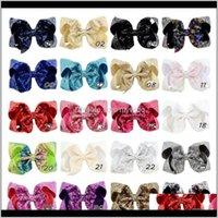 طفل، انخفاض الولادة التسليم 2021 20 ألوان 6 بوصة الفتيات مطرز الترتر الانحناء مع تمساح كليب الاطفال دبابيس بلينغ باريت الشعر AC