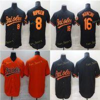 Мужские 8 Cal Cal Ripken Бейсбол для бейсбола 16 Trey Mancini сшитые сшитые Flexbase Cool Base Team Белый черный оранжевый серый
