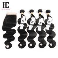 Grade 7A Virgin Brazilian Body Wave HC Hair 4PCS Brazilian Body Wave Human Hair Bundle With Lace Closure