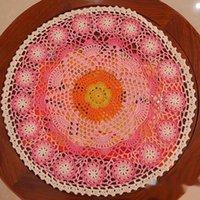 Mats almofadas 38cm Algodão Handmade Cup Cup Caneca Cozinha Mesa de Casamento Matidão Mat Laço De Pano Crochet Chá Doily Pad