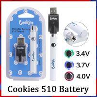 쿠키 예열 vape 배터리 4 색 USB 충전기 키트 510 스레드 예열 350mAh VV 가변 전압 배터리 블리스 터 팩