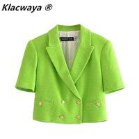 KlaCwaya ZA Kadınlar Yeşil Kırpılmış Blazer Ceket Kruvaze Kısa Kollu Cep Dekorasyon Dokulu Kırpılmış Blazerd 211013