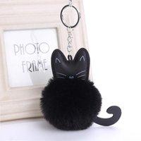 Keychains 4 Color Cute Fluffy Black Cat Keychain Kitty Fur Ball Key Chain Bag Chaveiro Women Ring Holder Handbag Charm Pendant