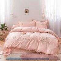 Bettwäsche-Sets Michiko Heimtextilien Europäischer Stil Einfache Quilt Cover Bett Blatt Kissenbezug Reine Farbe gewaschene Seide doppelt 4 Stück Set