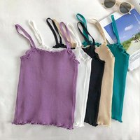Women's Tanks & Camis 2021 Summer Women Korea Style Camisole Slim Crop Top Sexy Spaghetti Strap Ribbed Knitted Sleeveless Clothes