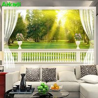Wallpapers European Balcony Meadow Landscape 3D TV Background Wallpaper Living Room Sofa Courtyard Fresco Continental Forest