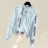 Autumn Long Sleeve Blouse Women Blusas Mujer De Moda 2021 Striped Chiffon Shirt Tops Womens And Blouses Blusa D759 Women's & Shirts