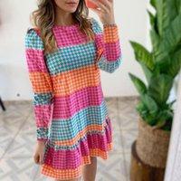 Casual Dresses Women Elegant Mini Dress Long Sleeve Print Ruffle A-Line 2021 Autumn Ladies Loose Clothing