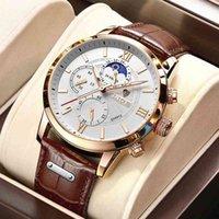 Designer Guarda il marchio orologi orologi di lusso orologio Casual Leathel 24Hour Moon Fase Uomo Sport Quarzo impermeabile Cronografo + scatola