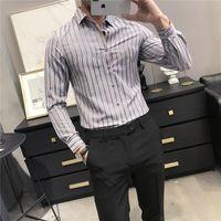Top Quality Spring Homens Listrado Camisas Casuais Manga Longa Simples Negócio Slim Fit Tal Formal Wear Blouse Homme Plus Size