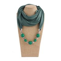 Scarves Multi Style Decorative Jewelry Necklace Resin Beads Pendant Scarf Women Foulard Femme Head Hijab